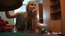 Skinny teen Kitty won't stop at anything to sta...