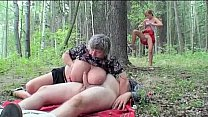 Monster tits granny playing in the forest