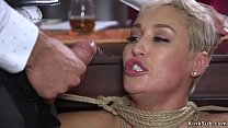 Tied up and restrained to a bed frame hot big t...