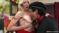Mature blonde MILF shows off her pierced nipples & rides big-dick Thumbnail