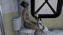 FO4 She relieves his cock in the toilet