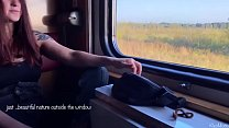 Amateur fuck in train with my redhead wife Kleo...