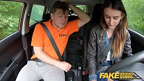 Fake Driving School Sexy and young brown haired pussy fucked deep in a car Thumbnail