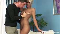 Horny babe with a great body will show us her riding skills after sucking cock. Thumbnail