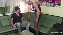 Old blonde MILF sucking and fucking young boy