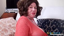 Busty mature lady lays alone and enjoys her toys