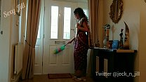 Indian servant in red saree used and a. by her ...