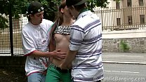 A young chick Alexis Crystal in a street orgy g...