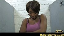 Watch Ebony chick sucking white cock through a gloryhole 11 preview