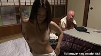 a lewd wife blows her father-in-law when her hu...
