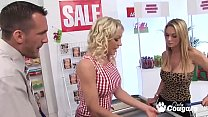 British Cougars Cindy Behr And Paige Ashley Bang The Market Manager's Thumb