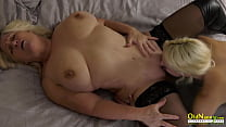 Busty wife cheating with lesbian sex partner