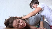 Naughty brunette cutie  Dani Daniels got spanking lesson before she would be allowed to lick Sinn Sage's cunt's Thumb