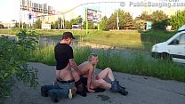A hot blondie fucked by 2 guys on the street in...