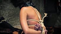 Young bondage slave endures being humiliated by her capture's Thumb
