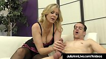 Big Boobed Milf Julia Ann punishes a feeble cock, teasing & abusing him to fuck her stocking clad legs until he drops his load on her pantyhose covered feet! Thumbnail
