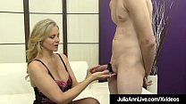Big_Boobed_Milf_Julia_Ann_punishes_a_feeble_cock,_teasing_&_abusing_him_to_fuck_her_stocking_clad_legs_until_he_drops_his_load_on_her_pantyhose_covered_feet! Thumbnail