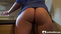 Cutie in the kitchen shows her nice ass before ...