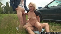 Young guys bred an old woman for a threesome