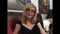 Blonde MILF with glasses is blowing cock in sexy black underwear Thumbnail