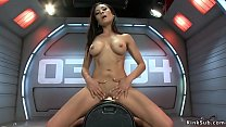 Watch Toned busty brunette solo babe Luna Star naked riding Sybian on her knees then shoves fucking machine in wet pussy while vibrating clit preview