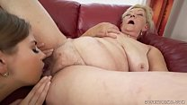 Saggy titted granny licking young pussy Thumbnail