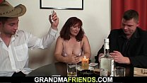Redhead grandma takes double penetration after ...