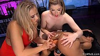 Watch Huge tits blonde domme Angel Allwood picked up two hot lesbian babes Maxine X and Ella Nova in club and then at her place anal fucks them preview