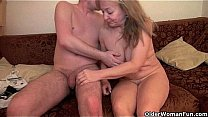 Watch Mom's old body craves toy boy's cum preview