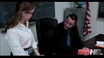 Nerdy teen Gracie May gets fucked in the classroom