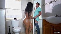 Big ass Latina sucks a gloryhole dick and fucks it