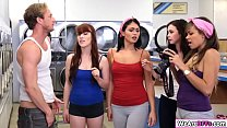 BFFS Cassidy Banks get a load in her in the laudromat Thumbnail