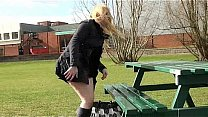 Amateur college babes public masturbation and pussy flashing outside campus Thumbnail