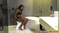 Watch Black trans babe jerking her thick cock preview