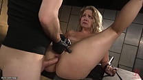 Hung from ankles in upside down position blonde...