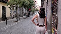 Naughty Lada exposes cameltoe in public