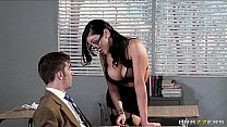 Horny college prof Audrey Bitoni steals her student from his GF's Thumb