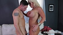 Sexy blonde mom with huge boobs fucked by a you...
