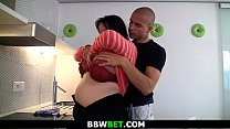 Big boobs fatty gets fucked on the kitchen