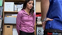 Young shoplifter with small tits humliated by a...
