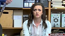 Brunette babe fucked by officer for stealing ph...