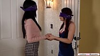 Redhead babe and gorgeous brunette blindfolded ...
