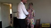 Inked whore Piggy Mouth dommed hard