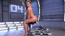 Big ass blonde hottie takes fucking machine in her wet pussy solo Thumbnail