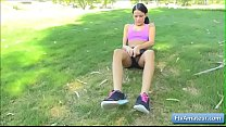 Sexy cutie girl masturbate on the grass with sex toy and piss Thumbnail