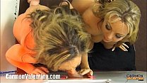 Watch Horny MILFS Carmen Valentina and Amber Lynn Bach on Their Knees at the Gloryhole preview