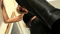 femdom in leatherpants give a cruel lesson