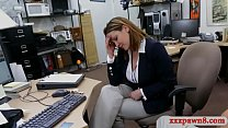 Sexy business woman gives a nice sloppy blowjob...