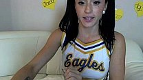 Cam Slut Cleo Dresses Up as a Cheerleader and_Gets_Off! Thumbnail