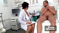 Gabina a dirty MILF doctor CFNM check-up then tug-job